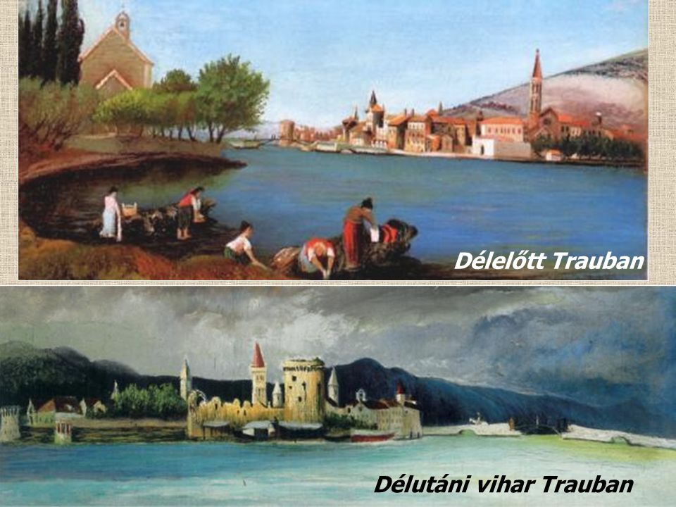 Zárda Trauban 1899 Traui tájkép naplemente idején 1899