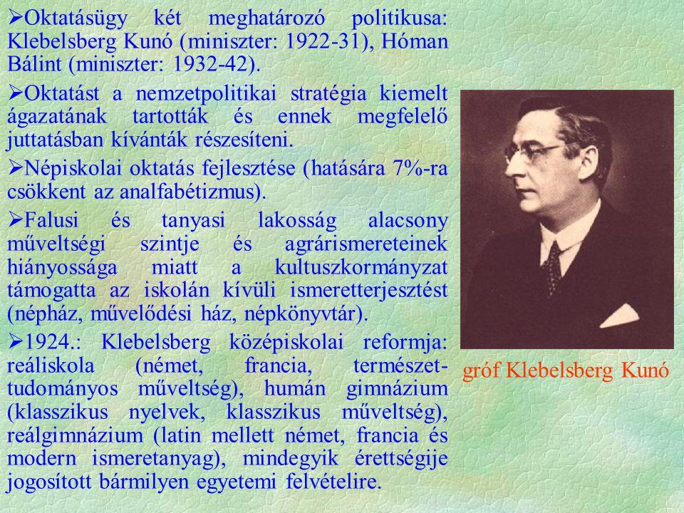  Oktatásügy két meghatározó politikusa: Klebelsberg Kunó (miniszter: 1922-31), Hóman Bálint (miniszter: 1932-42).  Oktatást a nemzetpolitikai straté