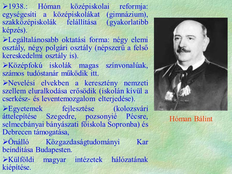  1938.: Hóman középiskolai reformja: egységesíti a középiskolákat (gimnázium), szakközépiskolák felállítása (gyakorlatibb képzés).