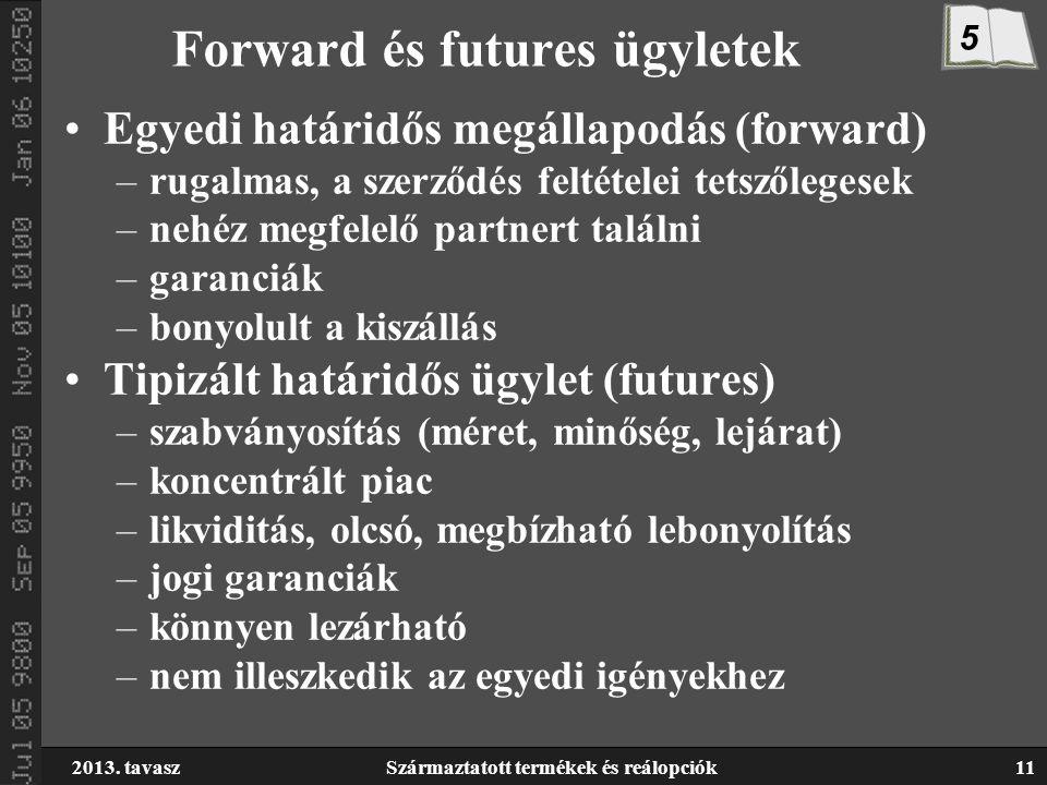 2013. tavaszSzármaztatott termékek és reálopciók11 Forward és futures ügyletek Egyedi határidős megállapodás (forward) –rugalmas, a szerződés feltétel