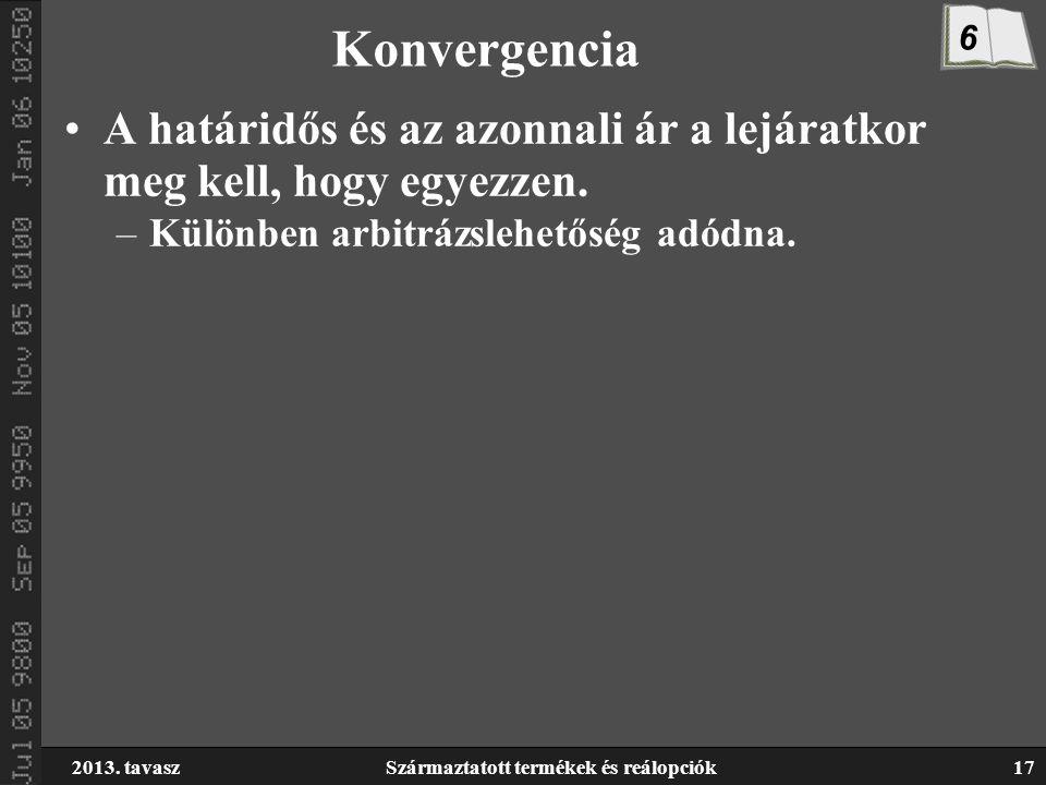 2013. tavaszSzármaztatott termékek és reálopciók17 Konvergencia A határidős és az azonnali ár a lejáratkor meg kell, hogy egyezzen. –Különben arbitráz