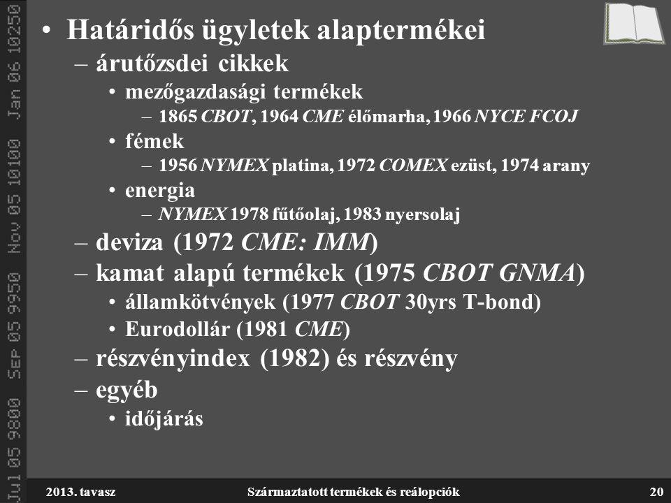 2013. tavaszSzármaztatott termékek és reálopciók20 Határidős ügyletek alaptermékei –árutőzsdei cikkek mezőgazdasági termékek –1865 CBOT, 1964 CME élőm