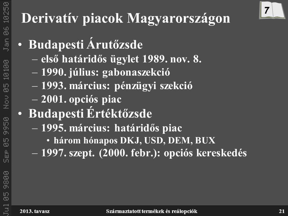 2013. tavaszSzármaztatott termékek és reálopciók21 Derivatív piacok Magyarországon Budapesti Árutőzsde –első határidős ügylet 1989. nov. 8. –1990. júl