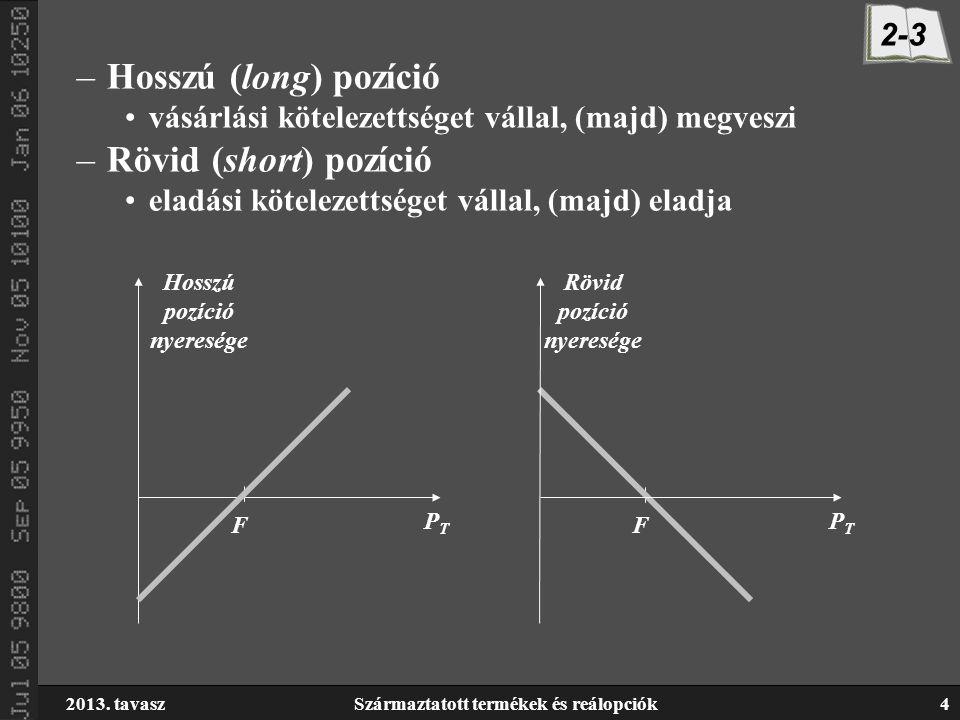 2013. tavaszSzármaztatott termékek és reálopciók4 –Hosszú (long) pozíció vásárlási kötelezettséget vállal, (majd) megveszi –Rövid (short) pozíció elad