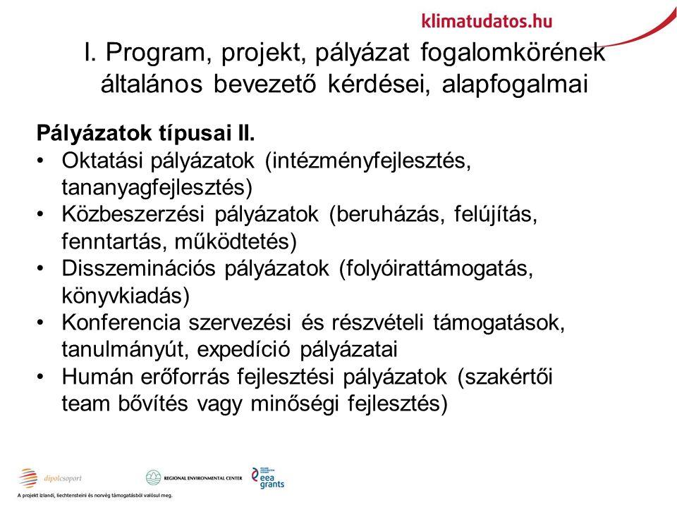 I. Program, projekt, pályázat fogalomkörének általános bevezető kérdései, alapfogalmai Pályázatok típusai II. Oktatási pályázatok (intézményfejlesztés