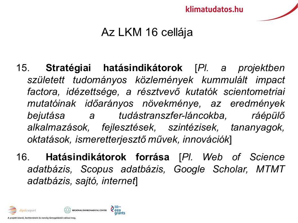 Az LKM 16 cellája 15.Stratégiai hatásindikátorok [Pl.