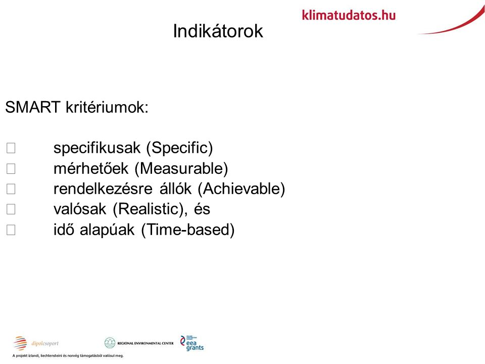 Indikátorok SMART kritériumok:  specifikusak (Specific)  mérhetőek (Measurable)  rendelkezésre állók (Achievable)  valósak (Realistic), és  idő alapúak (Time-based)