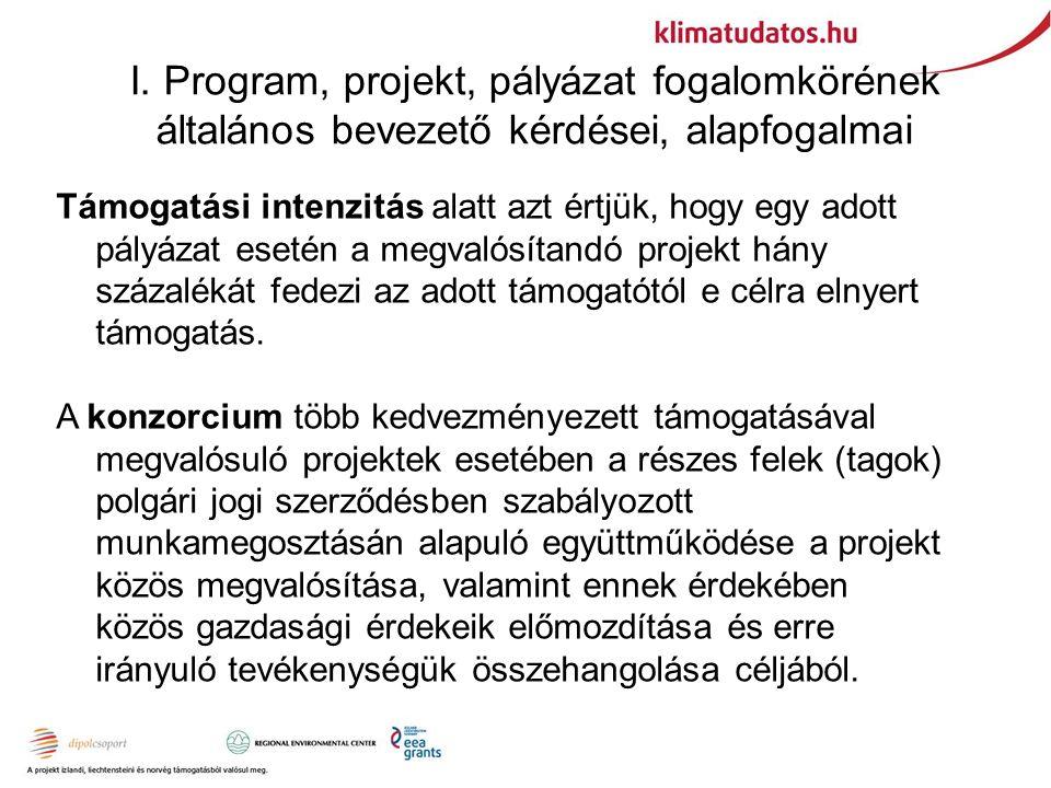 I. Program, projekt, pályázat fogalomkörének általános bevezető kérdései, alapfogalmai Támogatási intenzitás alatt azt értjük, hogy egy adott pályázat