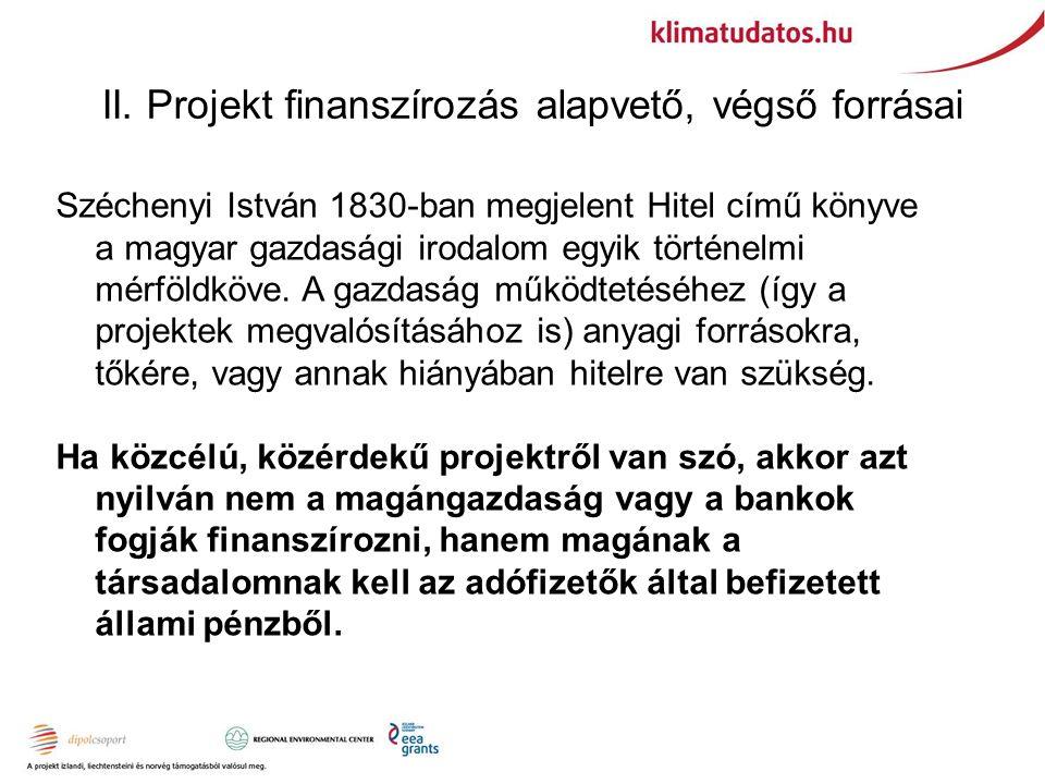 II. Projekt finanszírozás alapvető, végső forrásai Széchenyi István 1830-ban megjelent Hitel című könyve a magyar gazdasági irodalom egyik történelmi