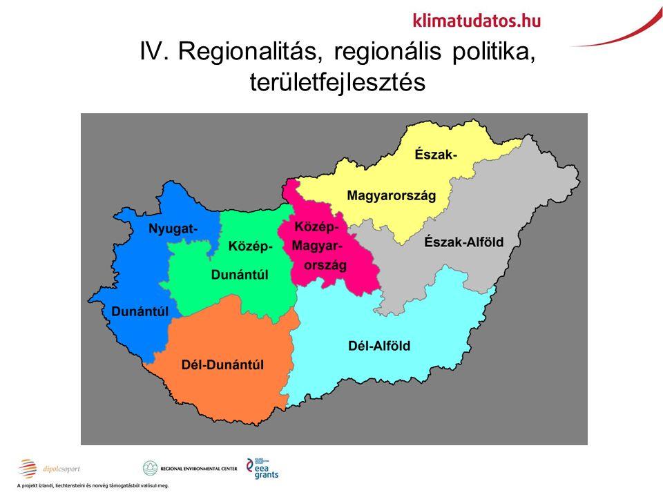 IV. Regionalitás, regionális politika, területfejlesztés