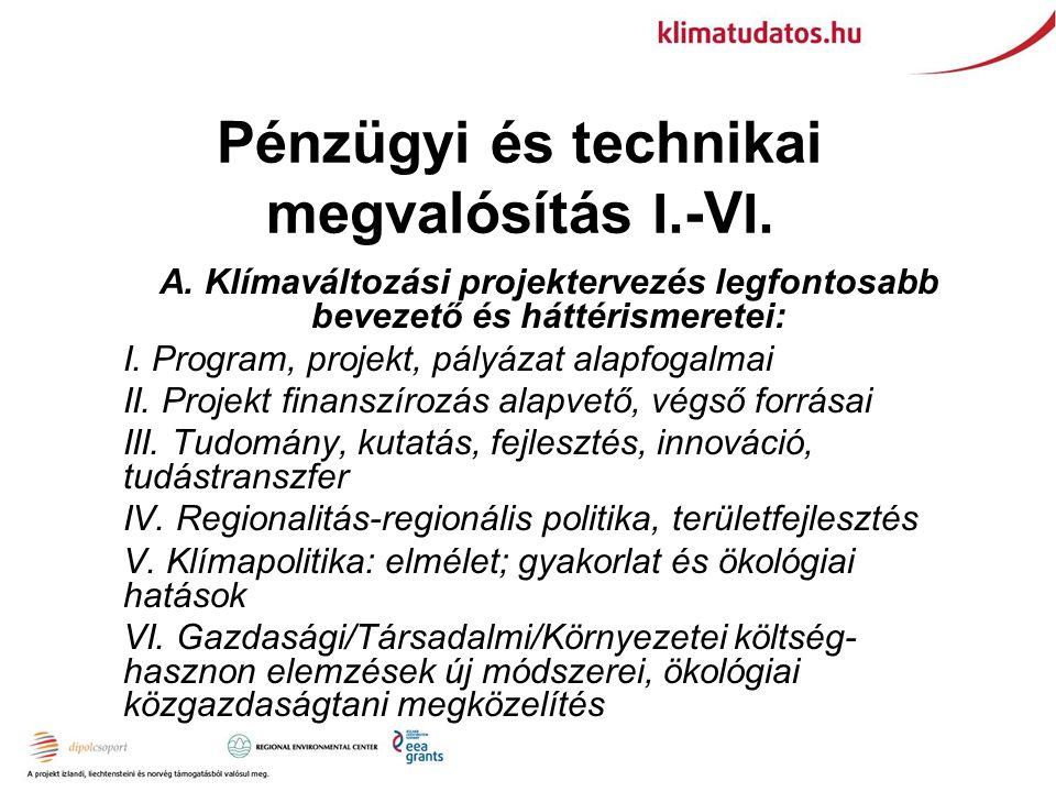 Pénzügyi és technikai megvalósítás I.-V I. B. Klímaprojekt eltérő nézőpontokból: VII.