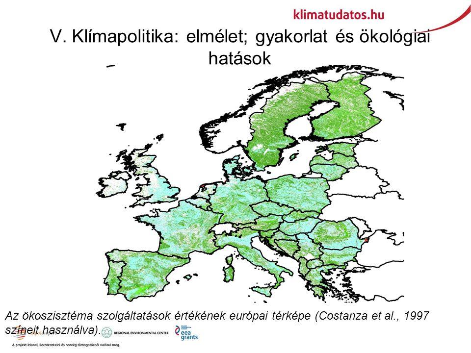V. Klímapolitika: elmélet; gyakorlat és ökológiai hatások Az ökoszisztéma szolgáltatások értékének európai térképe (Costanza et al., 1997 színeit hasz