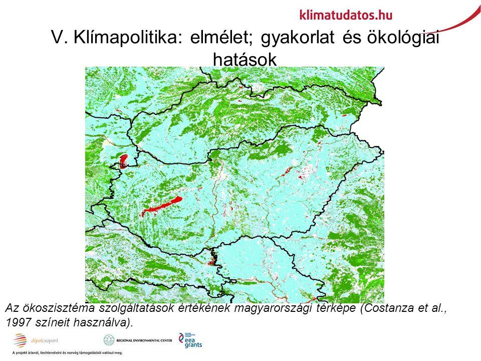 V. Klímapolitika: elmélet; gyakorlat és ökológiai hatások Az ökoszisztéma szolgáltatások értékének magyarországi térképe (Costanza et al., 1997 színei