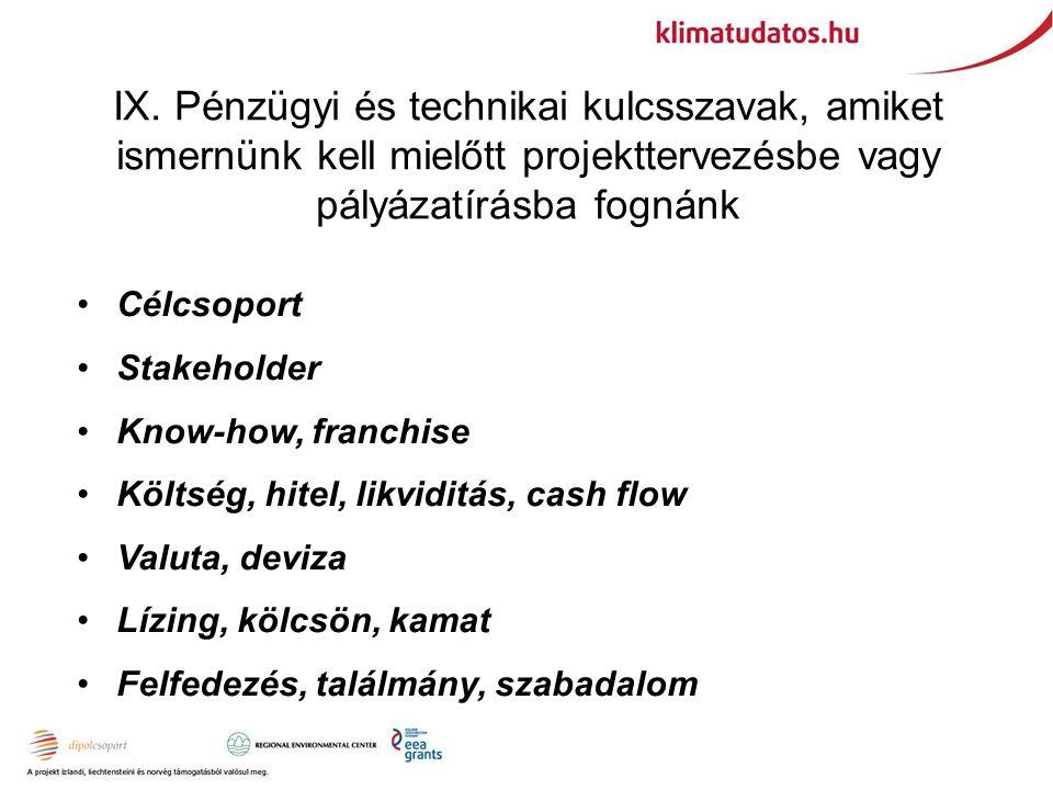 IX. Pénzügyi és technikai kulcsszavak, amiket ismernünk kell mielőtt projekttervezésbe vagy pályázatírásba fognánk Célcsoport Stakeholder Know-how, fr