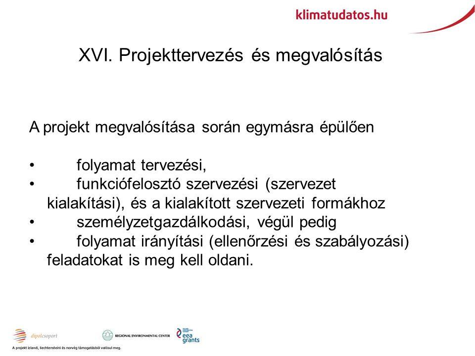 XVI. Projekttervezés és megvalósítás A projekt megvalósítása során egymásra épülően folyamat tervezési, funkciófelosztó szervezési (szervezet kialakít