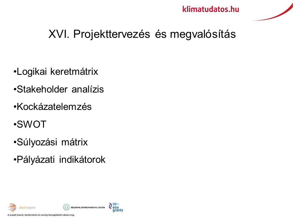 XVI. Projekttervezés és megvalósítás Logikai keretmátrix Stakeholder analízis Kockázatelemzés SWOT Súlyozási mátrix Pályázati indikátorok