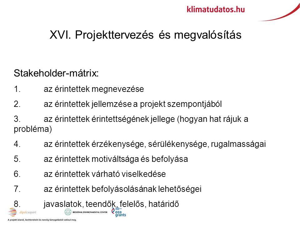 XVI. Projekttervezés és megvalósítás Stakeholder-mátrix: 1.az érintettek megnevezése 2.az érintettek jellemzése a projekt szempontjából 3.az érintette
