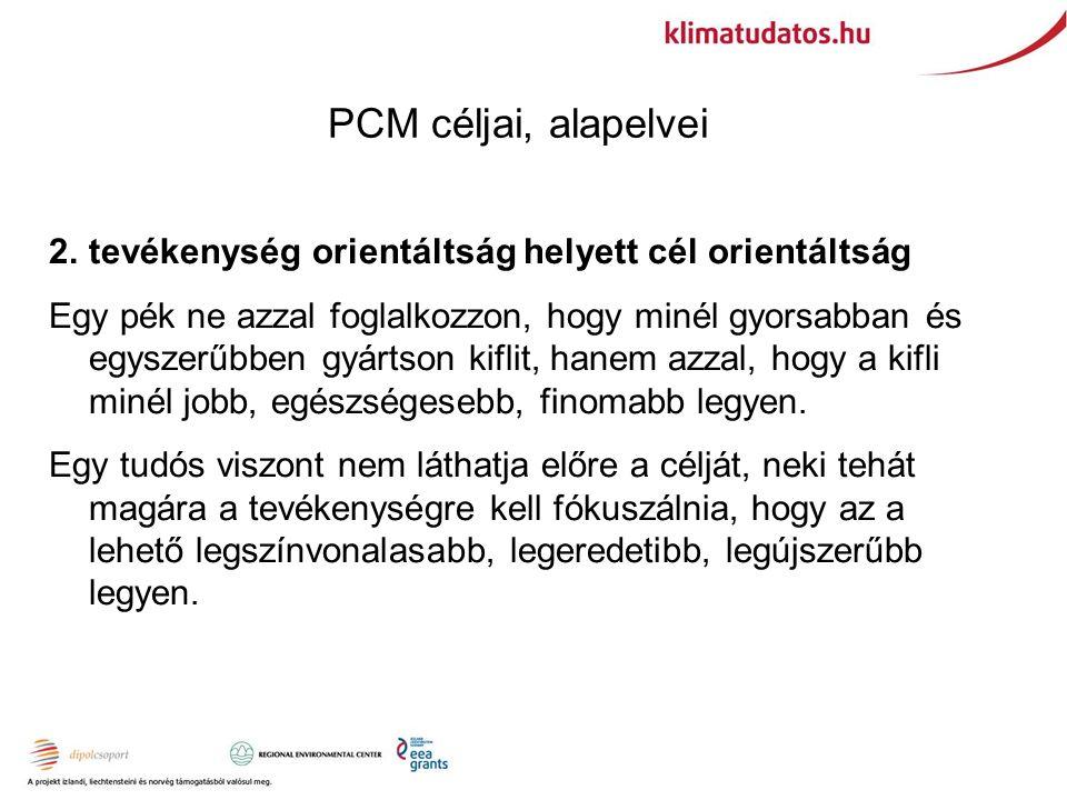 PCM céljai, alapelvei 2.tevékenység orientáltság helyett cél orientáltság Egy pék ne azzal foglalkozzon, hogy minél gyorsabban és egyszerűbben gyártson kiflit, hanem azzal, hogy a kifli minél jobb, egészségesebb, finomabb legyen.