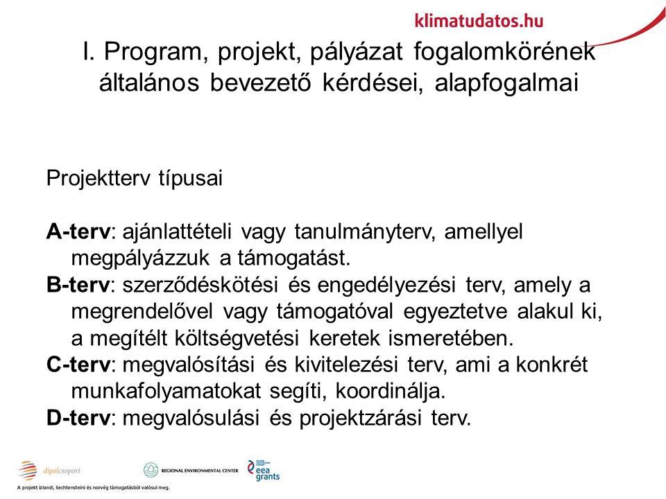 I. Program, projekt, pályázat fogalomkörének általános bevezető kérdései, alapfogalmai Projektterv típusai A-terv: ajánlattételi vagy tanulmányterv, a