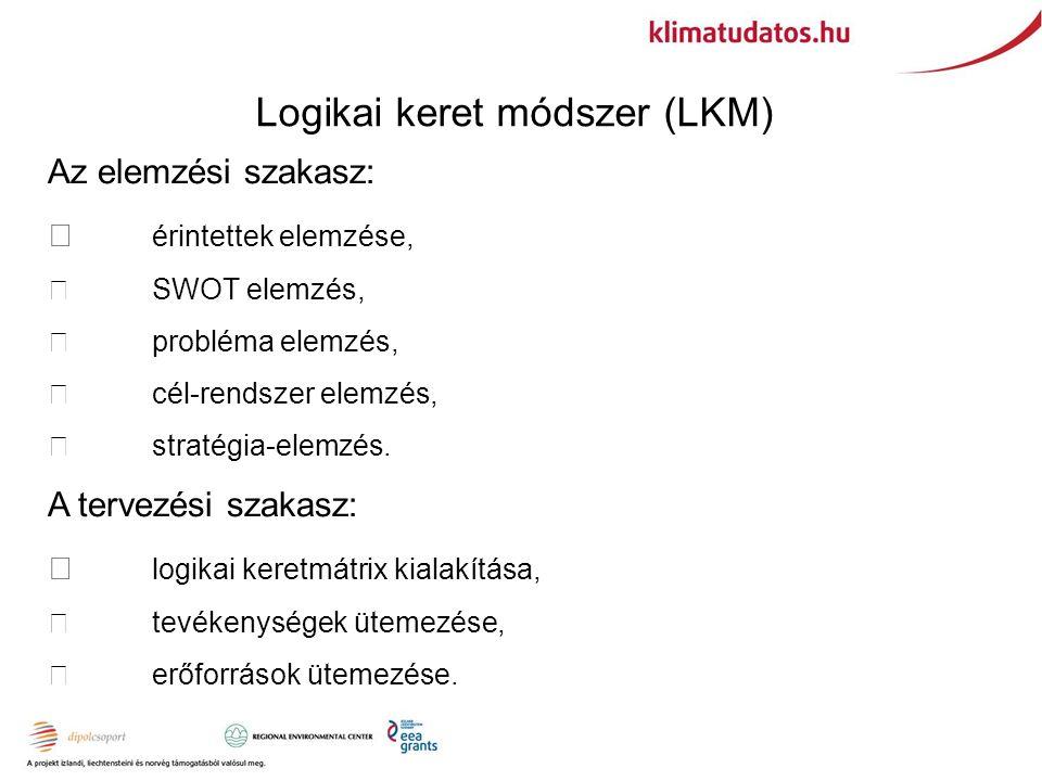 Logikai keret módszer (LKM) Az elemzési szakasz:  érintettek elemzése,  SWOT elemzés,  probléma elemzés,  cél-rendszer elemzés,  stratégia-elemzés.