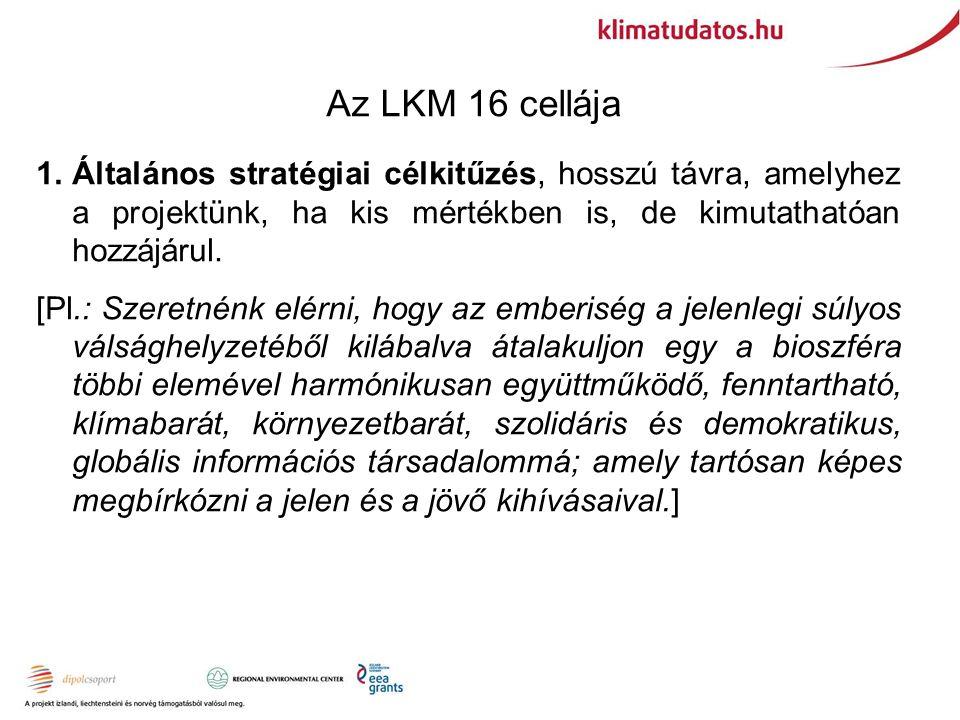 Az LKM 16 cellája 1.Általános stratégiai célkitűzés, hosszú távra, amelyhez a projektünk, ha kis mértékben is, de kimutathatóan hozzájárul.