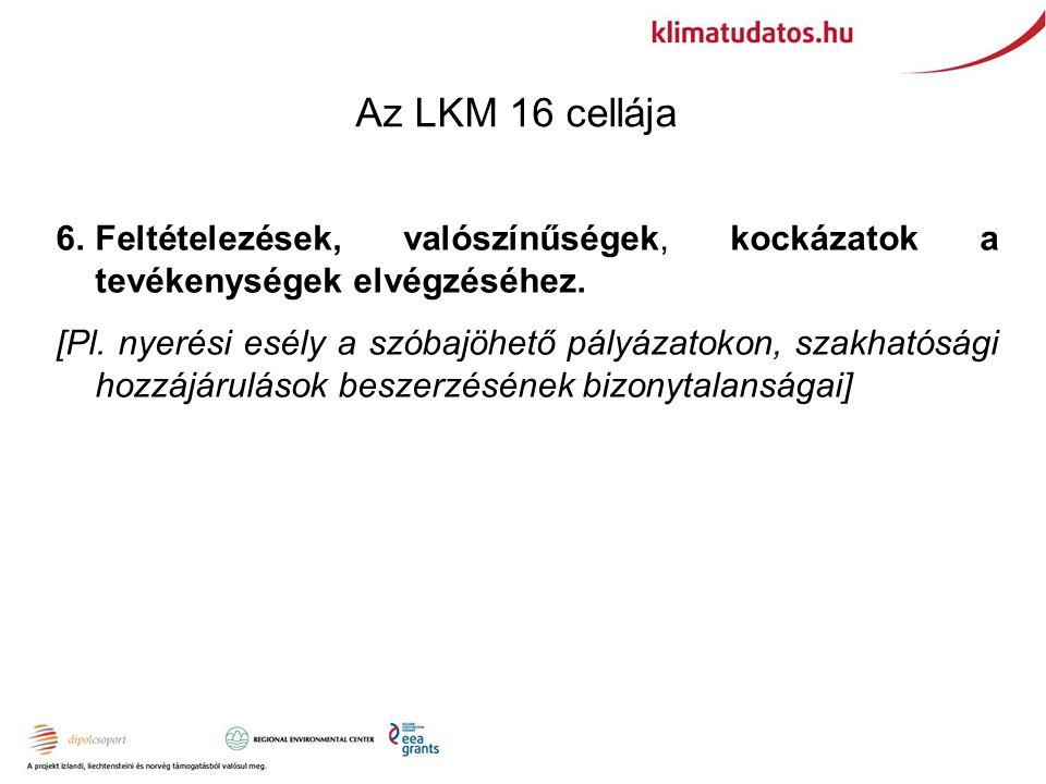 Az LKM 16 cellája 6.Feltételezések, valószínűségek, kockázatok a tevékenységek elvégzéséhez.