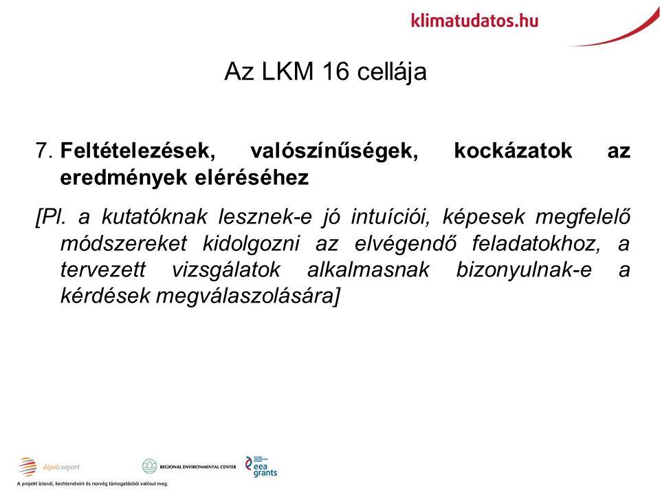 Az LKM 16 cellája 7.Feltételezések, valószínűségek, kockázatok az eredmények eléréséhez [Pl.