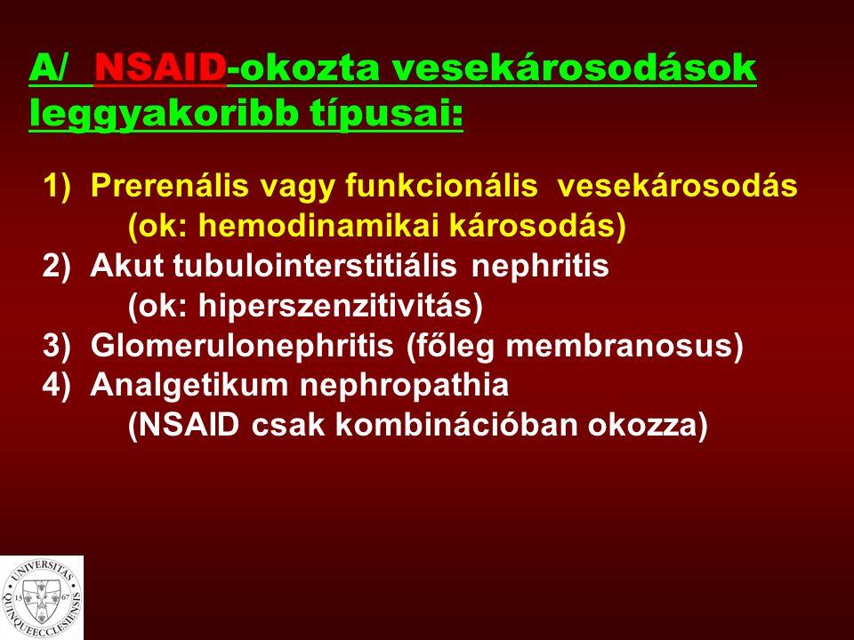 NSAID-indukálta vesekárosodásra hajlamosító tényezők (folyt.) Hypovolaemias állapotok - hányás, hasmenés - vérzések - sepsis - szívelégtelenség - decompensalt májcirrhosis ascites-szel - diuretikus kezelés Nephrotoxikus gyógyszerek együttes használata - ciklosporin A - aminoglycosidok