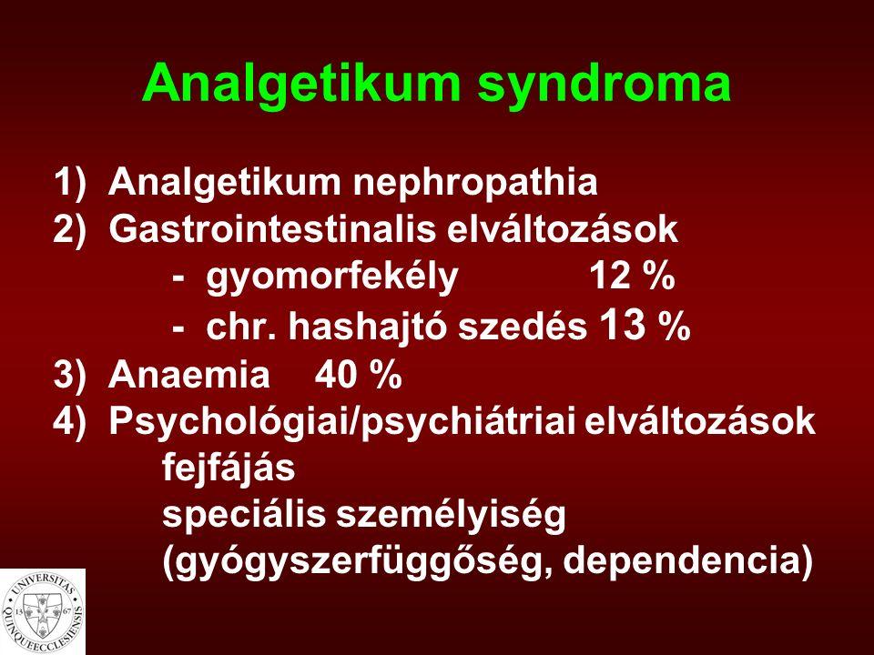 Analgetikum syndroma 1) Analgetikum nephropathia 2) Gastrointestinalis elváltozások - gyomorfekély 12 % - chr. hashajtó szedés 13 % 3) Anaemia40 % 4)