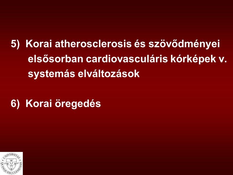 5) Korai atherosclerosis és szövődményei elsősorban cardiovasculáris kórképek v. systemás elváltozások 6) Korai öregedés