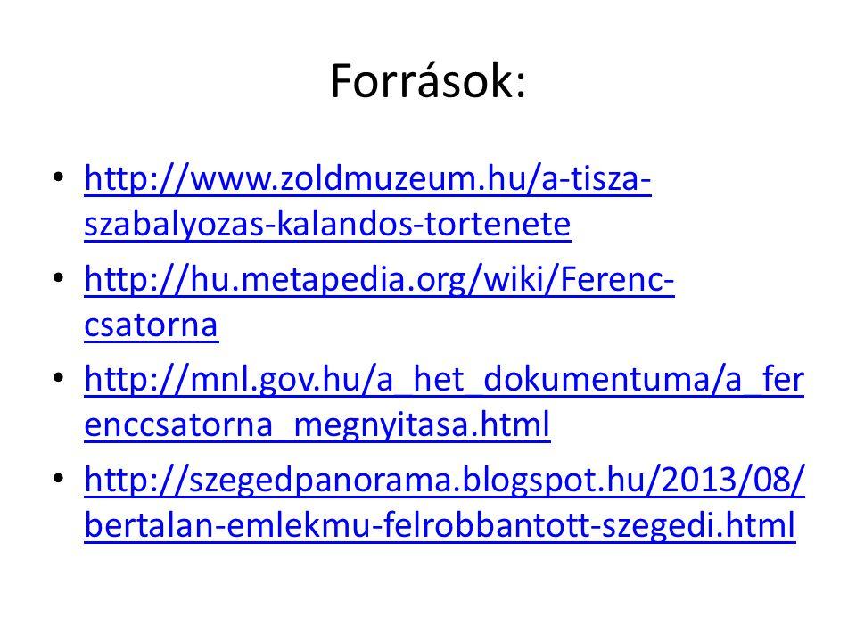 Források: http://www.zoldmuzeum.hu/a-tisza- szabalyozas-kalandos-tortenete http://www.zoldmuzeum.hu/a-tisza- szabalyozas-kalandos-tortenete http://hu.metapedia.org/wiki/Ferenc- csatorna http://hu.metapedia.org/wiki/Ferenc- csatorna http://mnl.gov.hu/a_het_dokumentuma/a_fer enccsatorna_megnyitasa.html http://mnl.gov.hu/a_het_dokumentuma/a_fer enccsatorna_megnyitasa.html http://szegedpanorama.blogspot.hu/2013/08/ bertalan-emlekmu-felrobbantott-szegedi.html http://szegedpanorama.blogspot.hu/2013/08/ bertalan-emlekmu-felrobbantott-szegedi.html