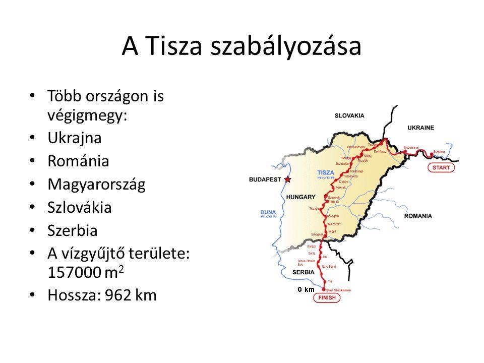 A Tisza szabályozása Több országon is végigmegy: Ukrajna Románia Magyarország Szlovákia Szerbia A vízgyűjtő területe: 157000 m 2 Hossza: 962 km