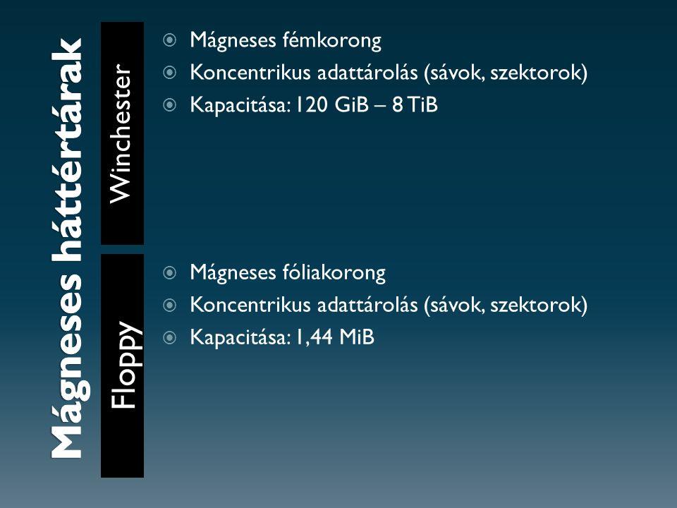 Winchester Floppy  Mágneses fémkorong  Koncentrikus adattárolás (sávok, szektorok)  Kapacitása: 120 GiB – 8 TiB  Mágneses fóliakorong  Koncentrikus adattárolás (sávok, szektorok)  Kapacitása: 1,44 MiB