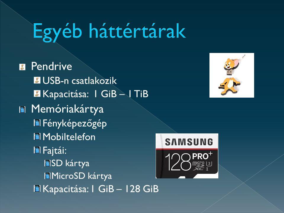 Pendrive USB-n csatlakozik Kapacitása: 1 GiB – 1 TiB Memóriakártya Fényképezőgép Mobiltelefon Fajtái: SD kártya MicroSD kártya Kapacitása: 1 GiB – 128 GiB
