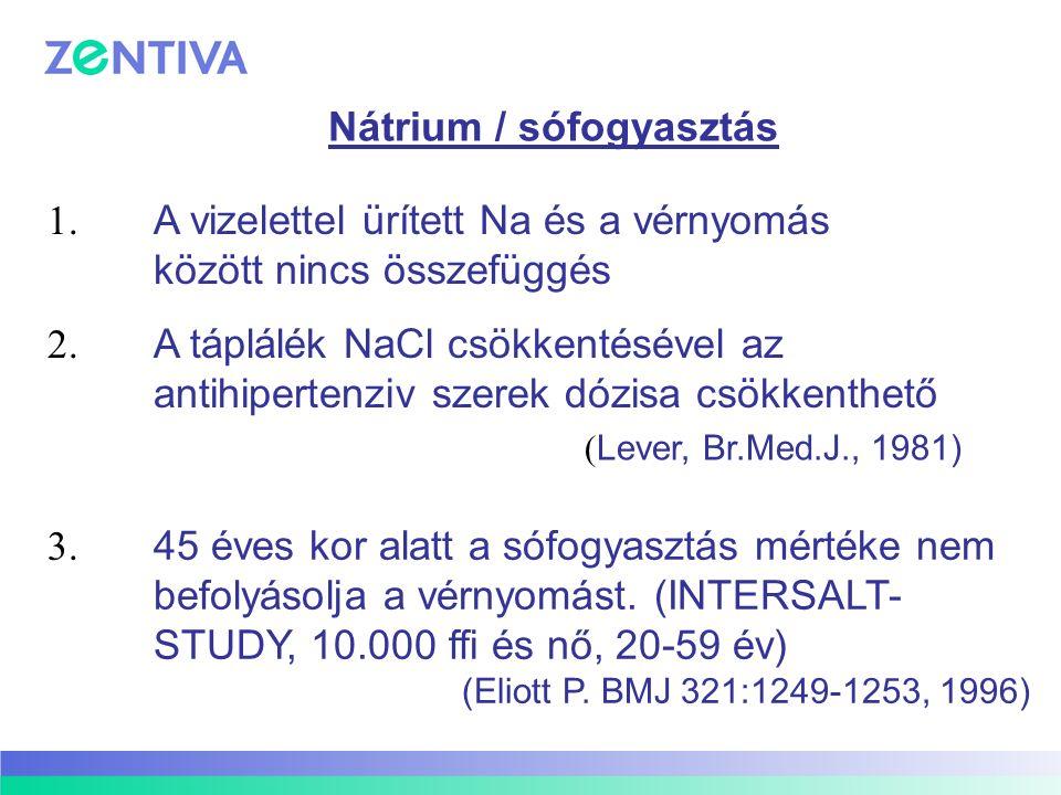 Nátrium / sófogyasztás 1. A vizelettel ürített Na és a vérnyomás között nincs összefüggés 2. A táplálék NaCl csökkentésével az antihipertenziv szerek