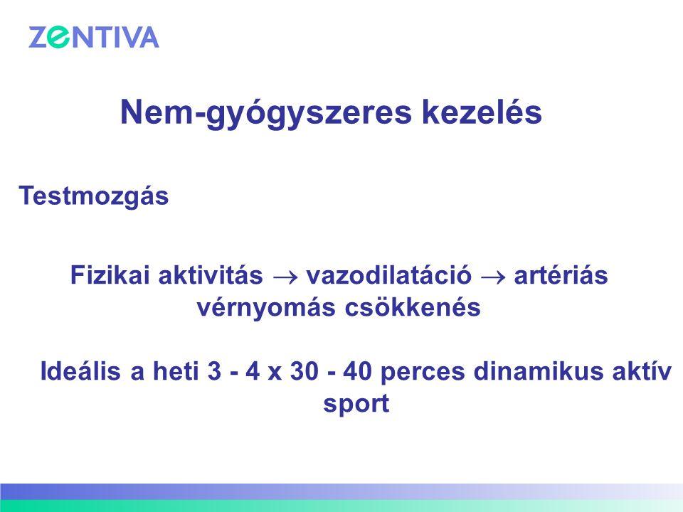 Fizikai aktivitás  vazodilatáció  artériás vérnyomás csökkenés Ideális a heti 3 - 4 x 30 - 40 perces dinamikus aktív sport Nem-gyógyszeres kezelés T