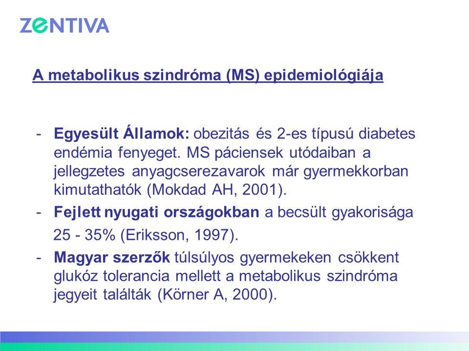 A metabolikus szindróma (MS) epidemiológiája -Egyesült Államok: obezitás és 2-es típusú diabetes endémia fenyeget. MS páciensek utódaiban a jellegzete