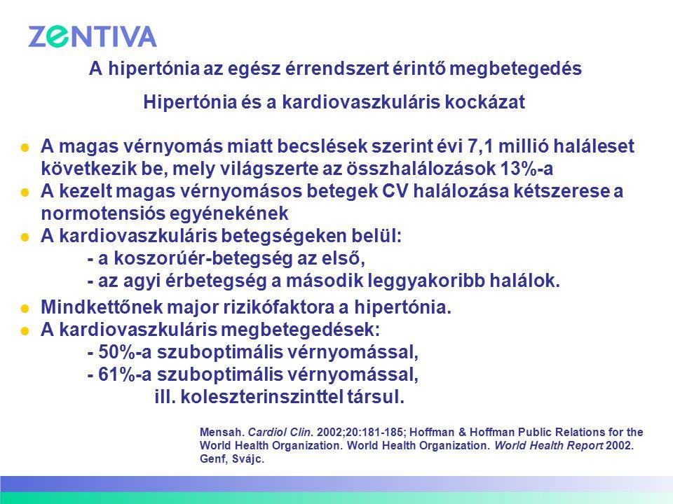 A hipertónia az egész érrendszert érintő megbetegedés A magas vérnyomás miatt becslések szerint évi 7,1 millió haláleset következik be, mely világszer