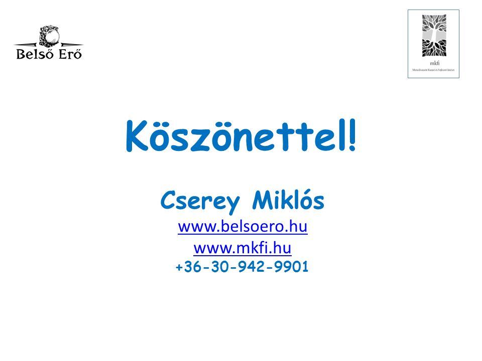 Köszönettel! Cserey Miklós www.belsoero.hu www.mkfi.hu +36-30-942-9901