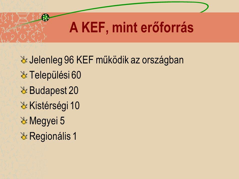 A KEF, mint erőforrás Jelenleg 96 KEF működik az országban Települési 60 Budapest 20 Kistérségi 10 Megyei 5 Regionális 1