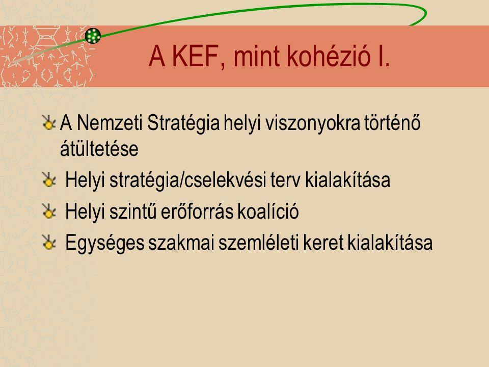 A KEF, mint kohézió I. A Nemzeti Stratégia helyi viszonyokra történő átültetése Helyi stratégia/cselekvési terv kialakítása Helyi szintű erőforrás koa