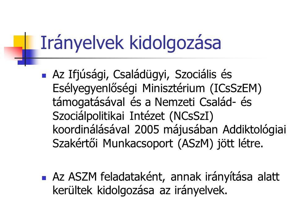 Irányelvek kidolgozása Az Ifjúsági, Családügyi, Szociális és Esélyegyenlőségi Minisztérium (ICsSzEM) támogatásával és a Nemzeti Család- és Szociálpolitikai Intézet (NCsSzI) koordinálásával 2005 májusában Addiktológiai Szakértői Munkacsoport (ASzM) jött létre.