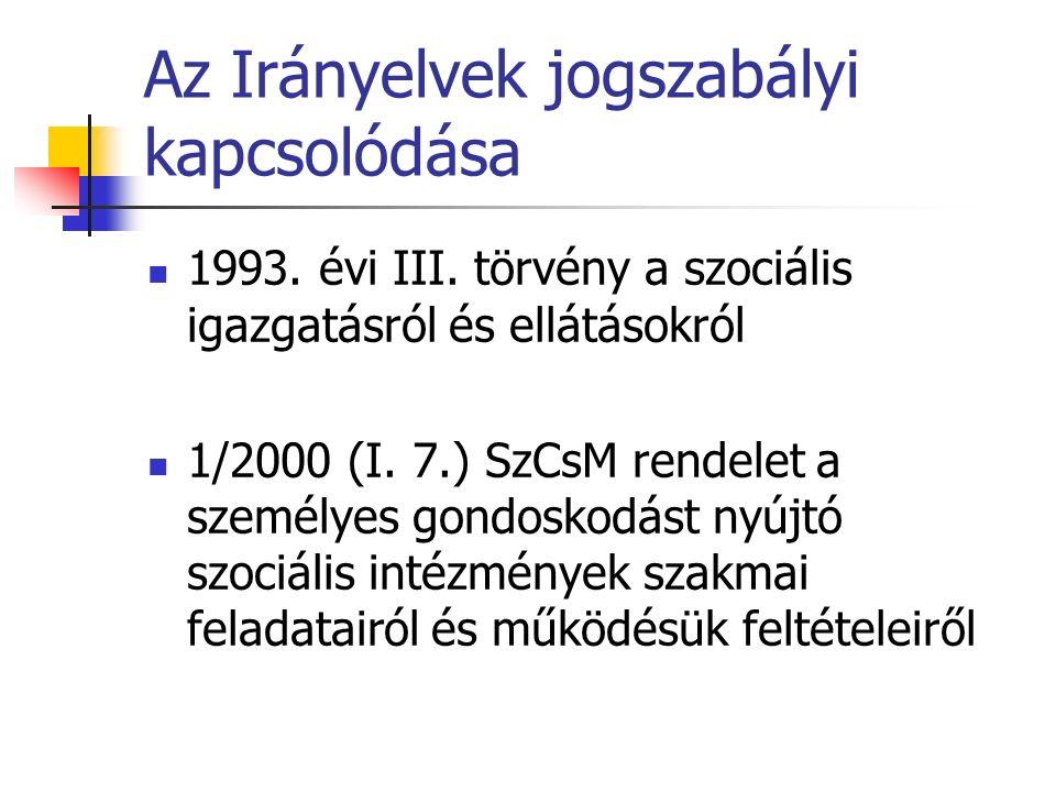 Az Irányelvek jogszabályi kapcsolódása 1993. évi III.