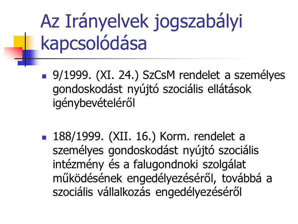 Az Irányelvek jogszabályi kapcsolódása 9/1999. (XI.