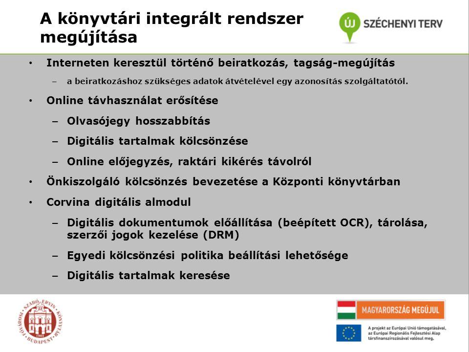 A könyvtári integrált rendszer megújítása Interneten keresztül történő beiratkozás, tagság-megújítás – a beiratkozáshoz szükséges adatok átvételével egy azonosítás szolgáltatótól.