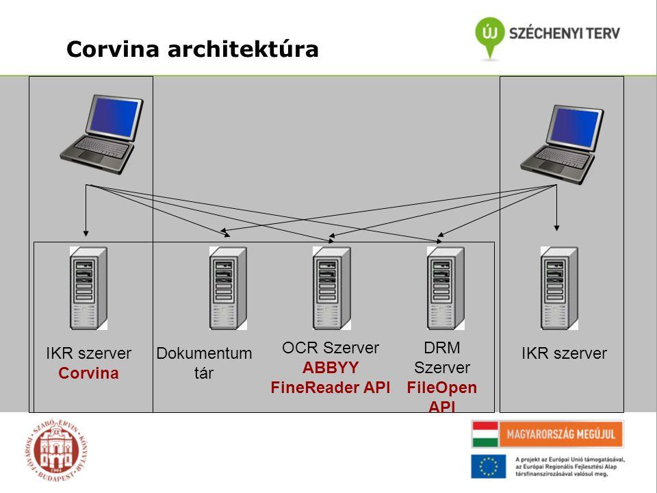 Corvina architektúra IKR szerver Corvina Dokumentum tár OCR Szerver ABBYY FineReader API DRM Szerver FileOpen API IKR szerver
