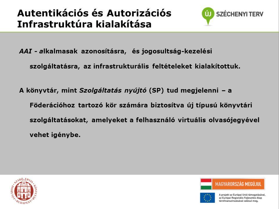 Autentikációs és Autorizációs Infrastruktúra kialakítása AAI - alkalmasak azonosításra, és jogosultság-kezelési szolgáltatásra, az infrastrukturális feltételeket kialakítottuk.