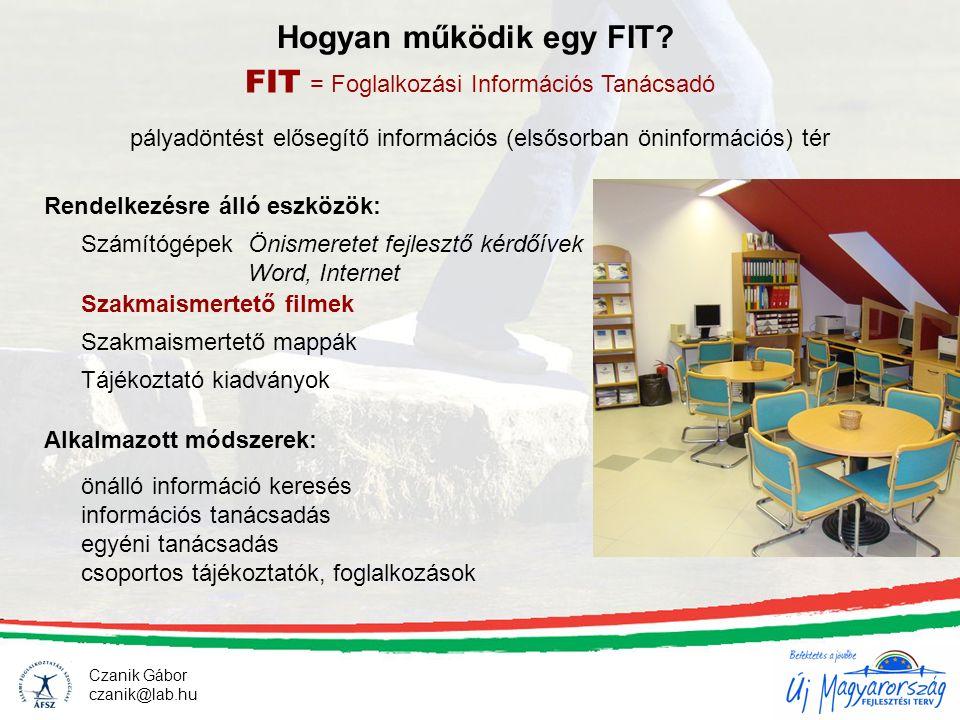 Czanik Gábor czanik@lab.hu Hogyan működik egy FIT? FIT = Foglalkozási Információs Tanácsadó önálló információ keresés információs tanácsadás egyéni ta