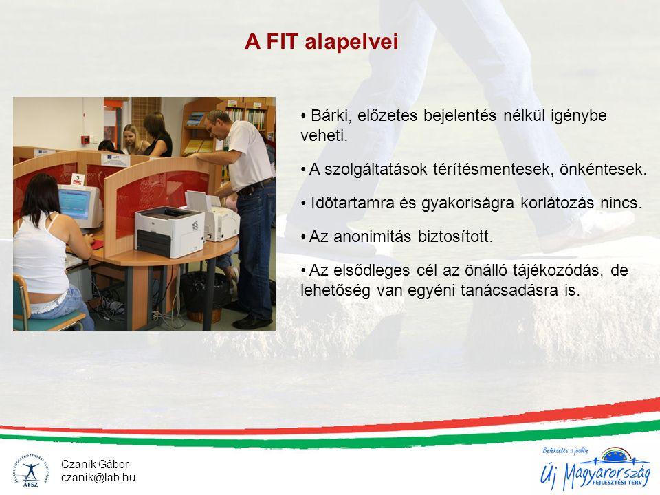 Czanik Gábor czanik@lab.hu A FIT alapelvei Bárki, előzetes bejelentés nélkül igénybe veheti. A szolgáltatások térítésmentesek, önkéntesek. Időtartamra