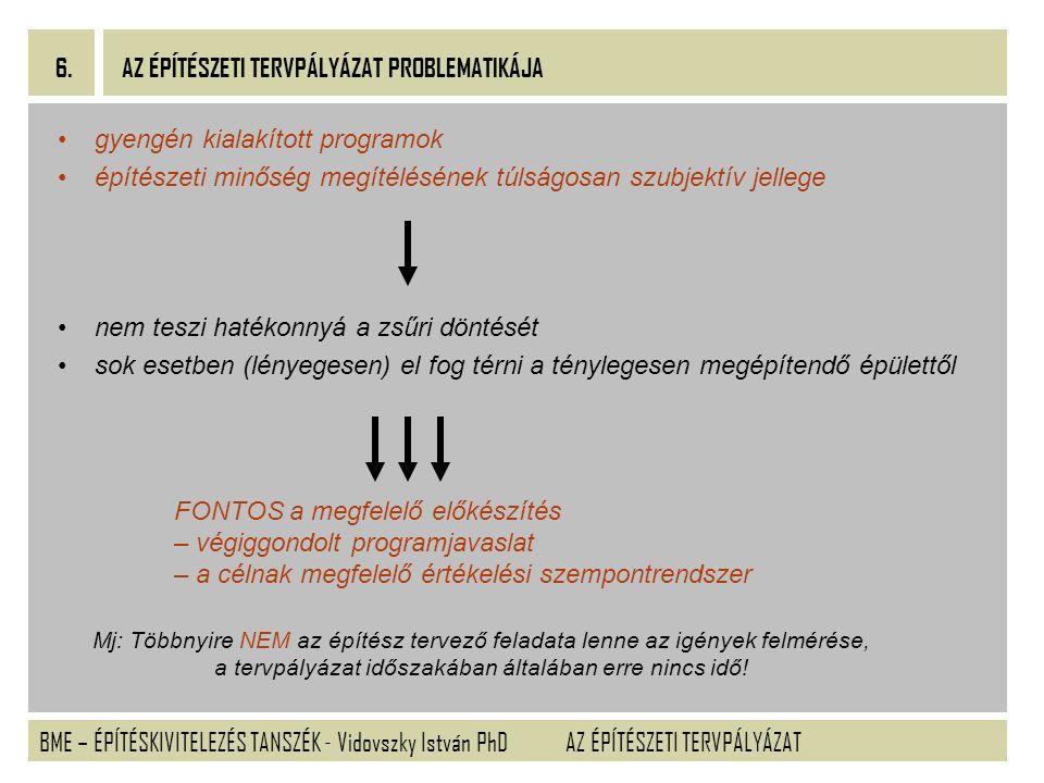BME – ÉPÍTÉSKIVITELEZÉS TANSZÉK - Vidovszky István PhD 6. AZ ÉPÍTÉSZETI TERVPÁLYÁZAT gyengén kialakított programok építészeti minőség megítélésének tú